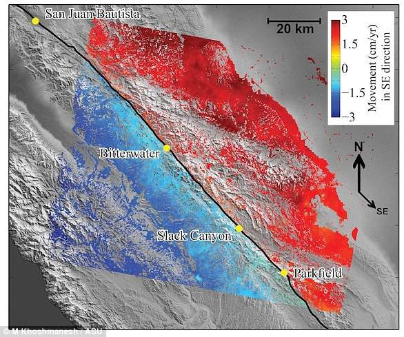 Synthetic aperture radar data from 2003 to 2010 allowed researchers to map the average rate of movement for the central section of the San Andreas Fault (black line).  Red appears to the southeast and blue appears to the northwest.