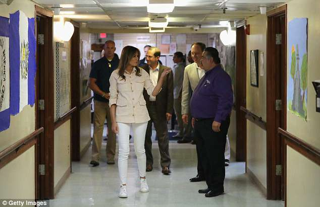 Inspection: Melania Trump toured the child shelter in McAllen, Texas, where 55 children are being held after crossing the border. The 'majority' did so unaccompanied, but it is unclear how many were taken from their parents