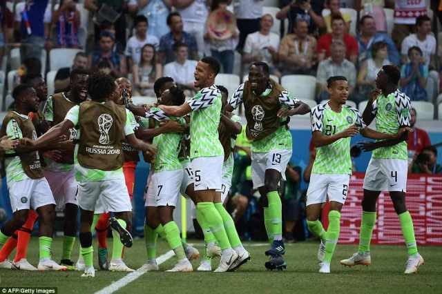 Nigeria's players celebrate after going 1-0 up in the second half against Iceland to keep theirWorld Cup ambitions alive