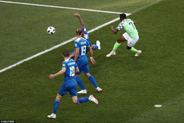 Nigeria's Ahmed Musa scores their first goal of the game against Iceland in the 49th minute of the Group D clash on Friday