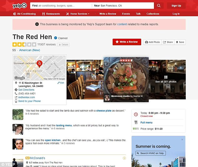 The Yelp page is also on Active Cleanup Alert after it was inundated with one and five star reviews by supporters on both sides of the political spectrum