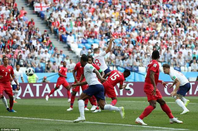 Manchester City defender Stones (far right) crouches after heading England's first goal against Panama at the World Cup