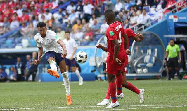 3-0: England's Jesse Lingard curls a stunning effort past Panama's goalkeeper to give England a solid lead in Nizhny Novgorod
