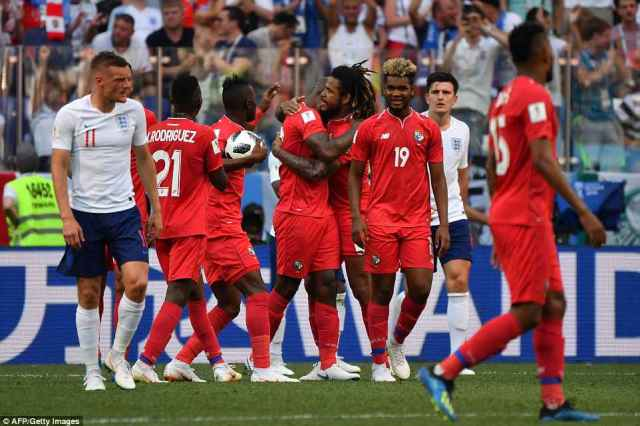 Panama celebrate after Felipe Baloy's strike gave them their first ever goal at a World Cup finals tournament