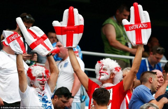 England fans cheer in the stands during England v Panama in the Three Lions' second World Cup fixture today