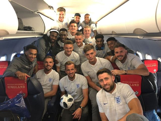 Kane celebrated his three goals against Panama by taking the match ball with him as England flew back to St Petersburg