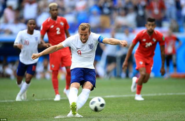 Kane smashes in from 12 yards for his second goal as England take an unassailable lead before half time