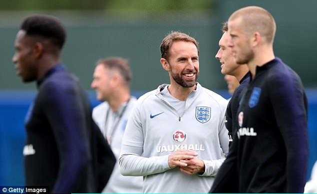Southgate was all smiles as he oversaw his players going about their work