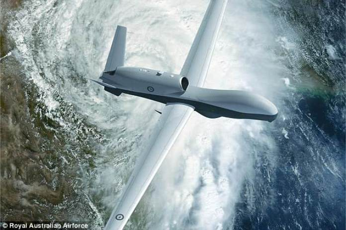 American defence giant Northrop Grumman will make the Triton aircraft (pictured), which can monitor an area the size of Switzerland in a day