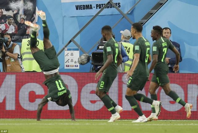 Victor Moses celebrated levelling things up with an acrobatic celebration after calmly slotting his penalty home