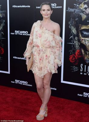 Stylish: Jennifer Morrison wore a floral dress that was tied at the waist to the premiere of Sicario: Day of the Soldado in Los Angeles on Tuesday