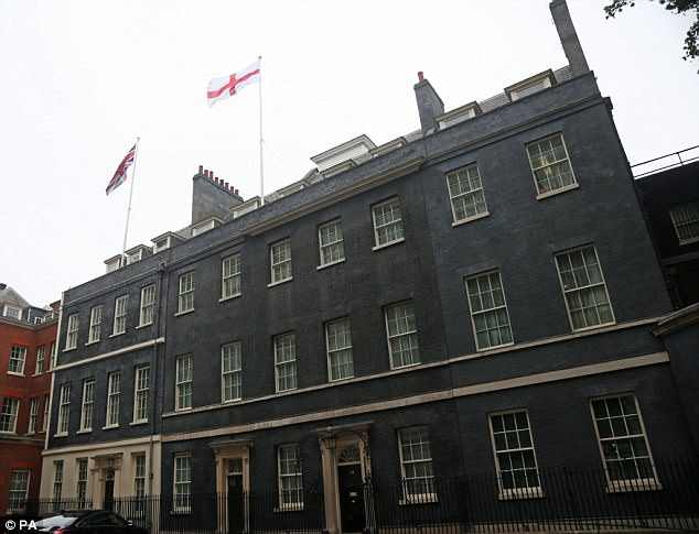 The flag of St George flies above 10 Downing Street today in support of the England team