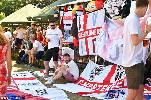 England fans enjoy the day in Kaliningrad before the final Group G match against Belgium