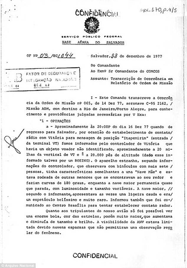 A declassified document describing a sighting of a UFO in December 1977, in Bahia, a state in northern Brazil.Brazil, Canada, Denmark, Ecuador, France, New Zealand, Russia, Sweden and the United Kingdom have been declassifying their UFO files since 2008