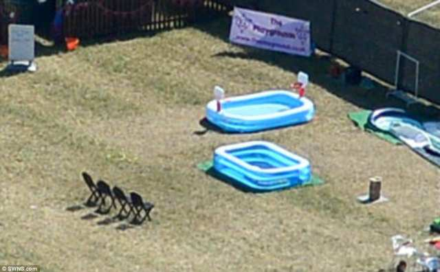 There was a paddling pool with nearby chairs for revellers at the secretive event in Worcestershire to enjoy