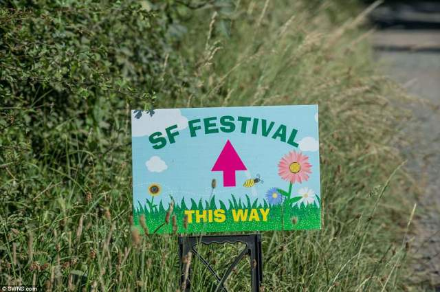 Signs saying 'SF Festival this way' alerted people to the location of the secretive sex festival