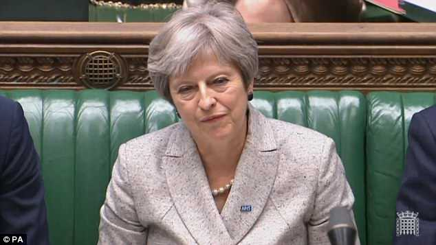 The PM (pictured in the Commons last night) is meeting the Cabinet today with senior Tories openly trading blows over how close Britain's future relationship should be with the EU