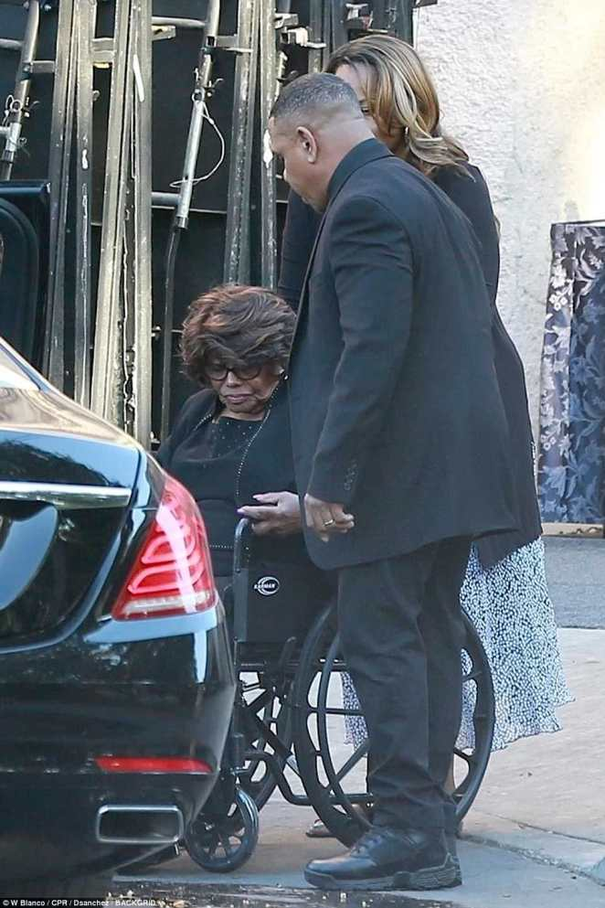 Joe's widow Katherine exited the luncheon in a wheelchair, and was helped into a waiting car