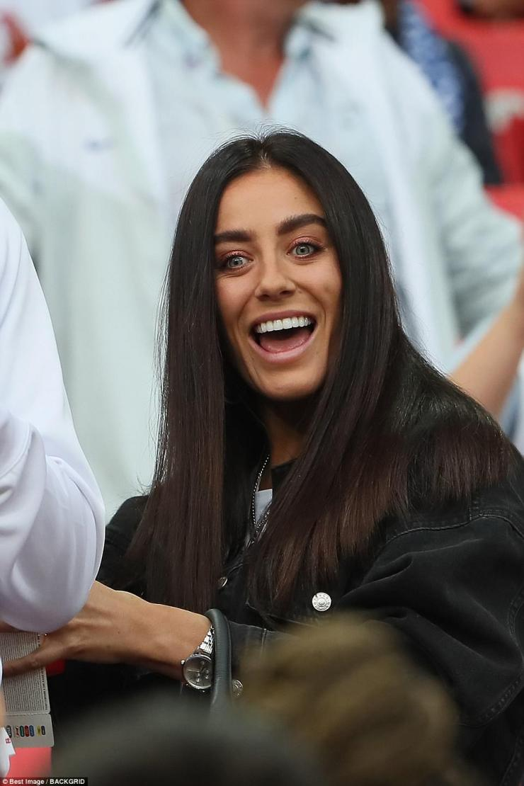 Fern Hawkins,Harry Maguire's girlfriend, couldn't hide her delight as she watched England win their first ever penalty shoot out