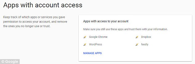 Permissions can be viewed and controlled so users can keep track of which apps or services are accessing their account and delete any no longer in use. Users can keep track of which apps or services have permission to access a user's accounts