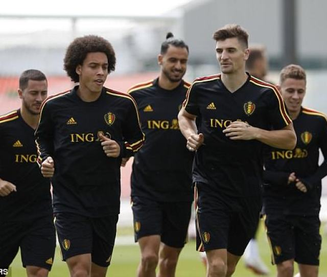 Axel Witsel Front Left And Thomas Meunier During Belgiums Training Session On Thursday