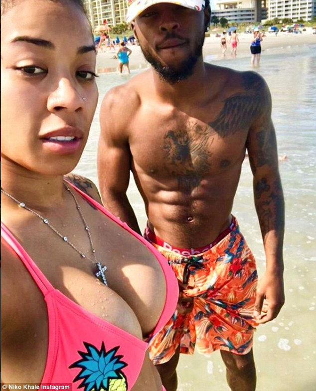 Good shape: While she hasn't yet revealed who the father is, she has been recently linked to rapper Niko Khale [PICTURED]