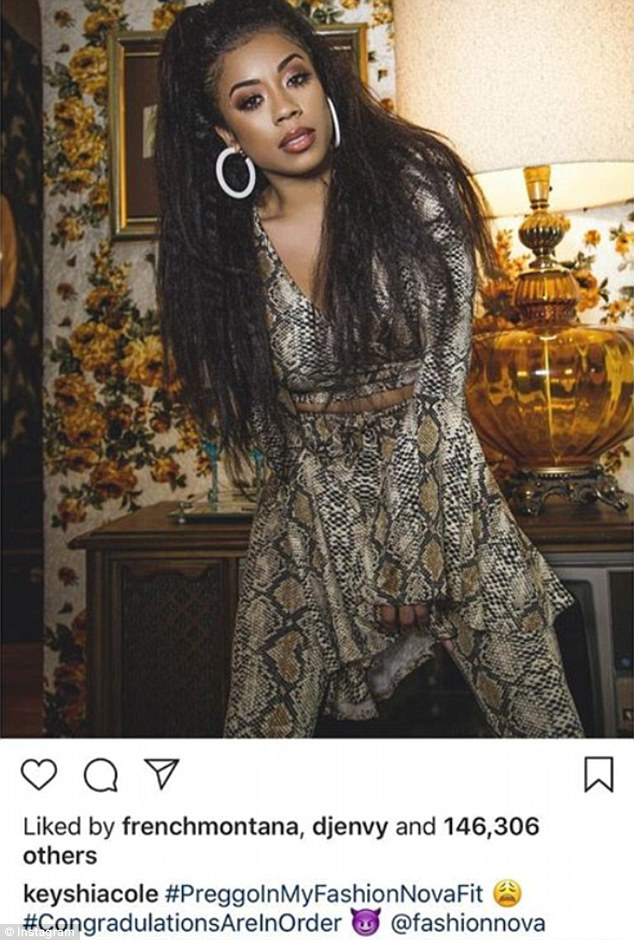 Congrats: Keyshia Cole has just announced she's expecting her second child, in an Instagram post advertising clothing brand Fashion Nova on Thursday
