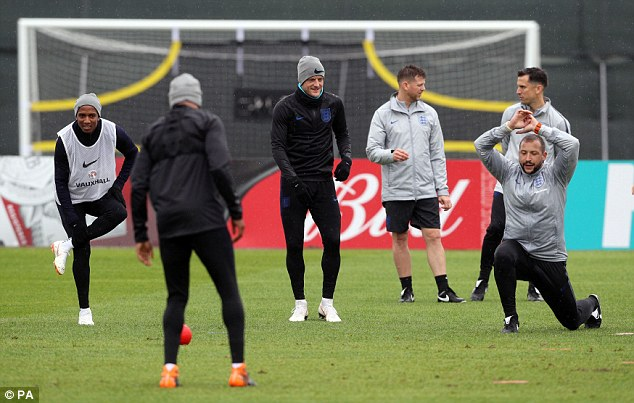 Vardy wasonly able to join in with the warm-up for Friday morning's training session