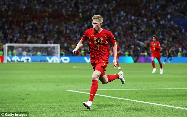 De Bruyne scored a brilliant goal to put the Red Devils 2-0 ahead in Kazan on Friday evening