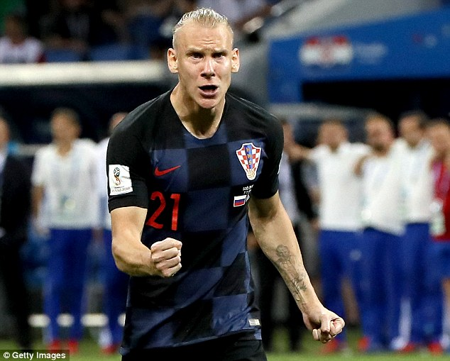 The video shows Vida shouting 'glory to Ukraine' after the penalty shootout win over Russia