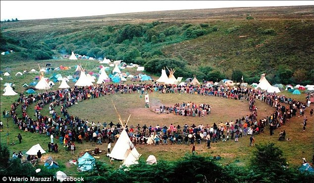 Above, a photo of a former Rainbow Family of Living Light gathering