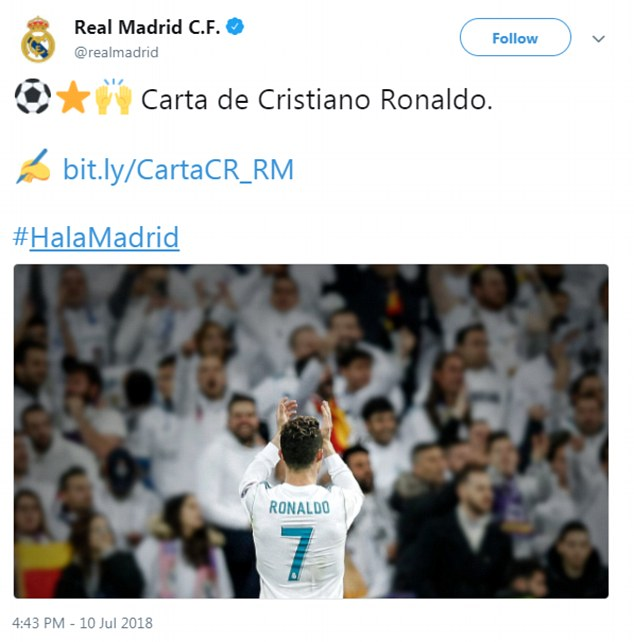 The club tweeted Ronaldo's letter in which the player thanked the club for their support