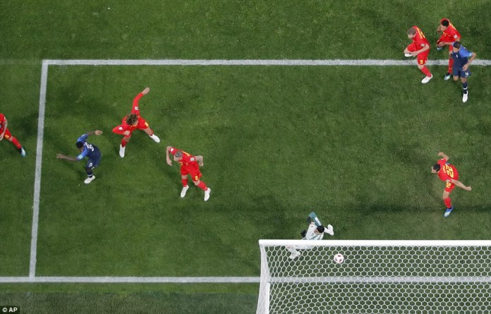 An aerial shot perfectly illustrates the angle of Umtiti's finish after he managed to get wrong-side of the defen