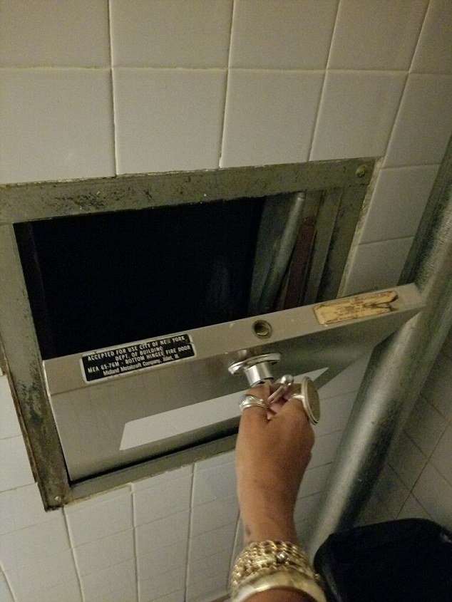 Surveillance footage showed the 48-year-old staggered off the elevator on the 27th floor of her building Tuesday afternoon, shortly before she was found dead. It's believed she fell down this trash chute
