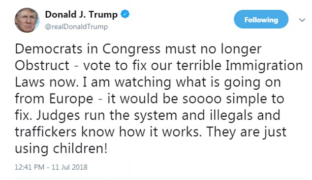 The president's shocking tweet comes as his administration is flouting a court-ordered deadline to reunite young children with their border-jumping parents
