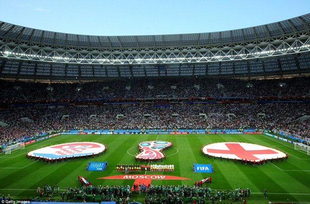 The scene was set at the Luzhniki Stadium ahead of kick-off as both sides stepped out for the national anthems