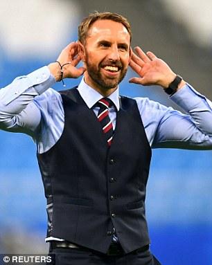 Southgate celebrating England's win over Sweden