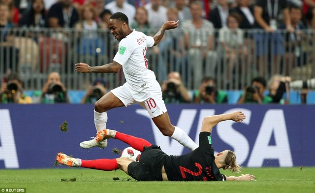 England forward Raheem Sterling looks to explode forward early in the game but is denied byCroatia's Domagoj Vida