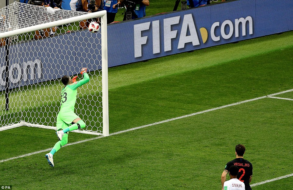 Croatia's Subasic is left stranded as Trippier's free-kick beats his dive and nestles into the net on Wednesday evening