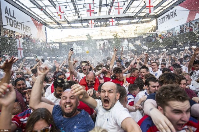 Box Park, Croydon: Drinks were thrown in celebration in South London in first half celebrations after Trippier's goal