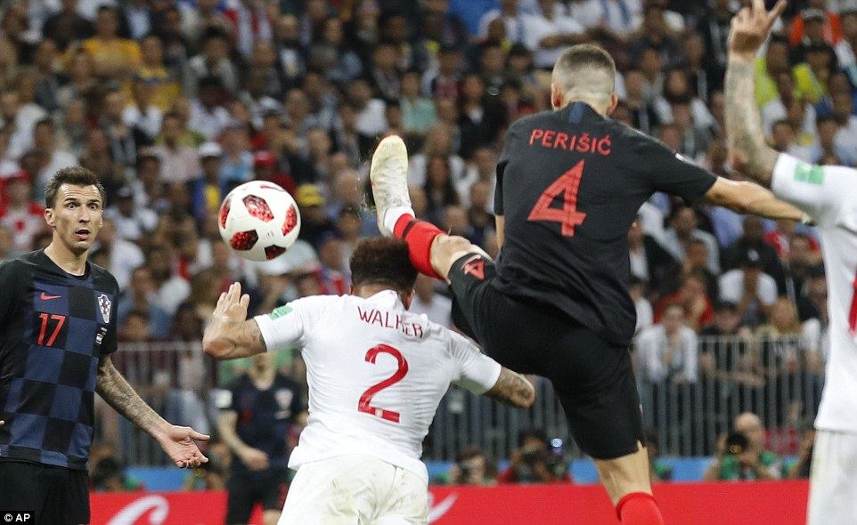 Perisic drifts in front of Kyle Walker and gets his foot ahead of the England defender's head to divert a cross into the net