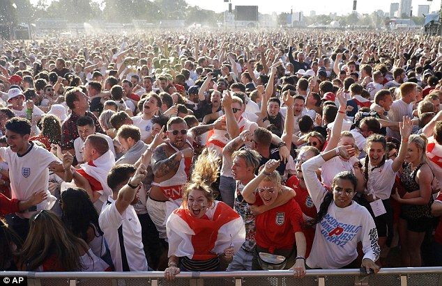 England fans went berserk in Hyde Park as Kieran Trippier broke the deadlock