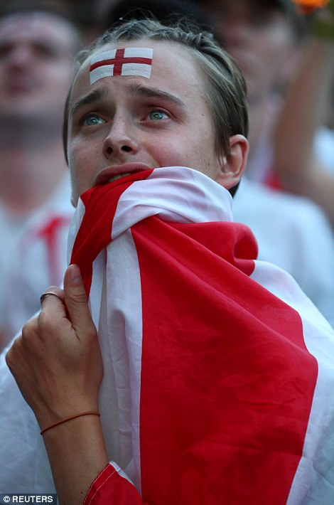 Flat Iron Square: England fans struggled to hide their anguish as the game went to a draw and the extra time whistle blew