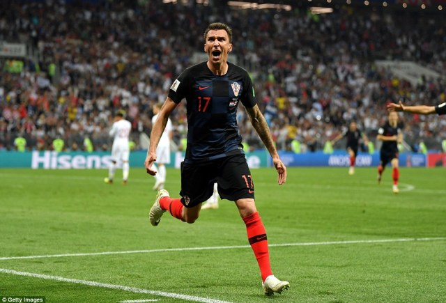 Mario Mandzukic, pictured, scored the winning goal for Croatia against England in extra-time tonight after a hard fought World Cup semi final