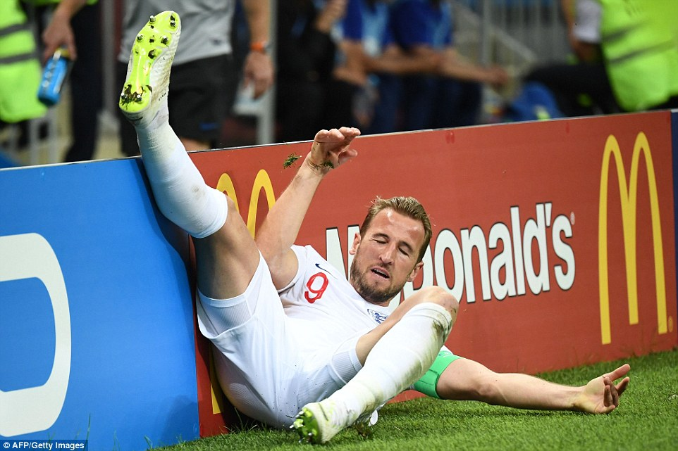 England striker Kane is sent tumbling into the advertising hoardings after being on the end of a strong challenge