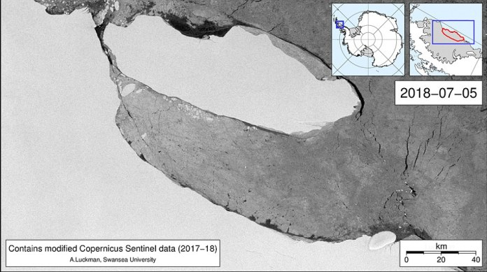 Scientists tracking a massive iceberg that broke free from Antarctica¿s Larsen C Ice Shelf last year say dense sea-ice cover has so far prevented it from drifting far out to sea. It is shown above in July, 2018