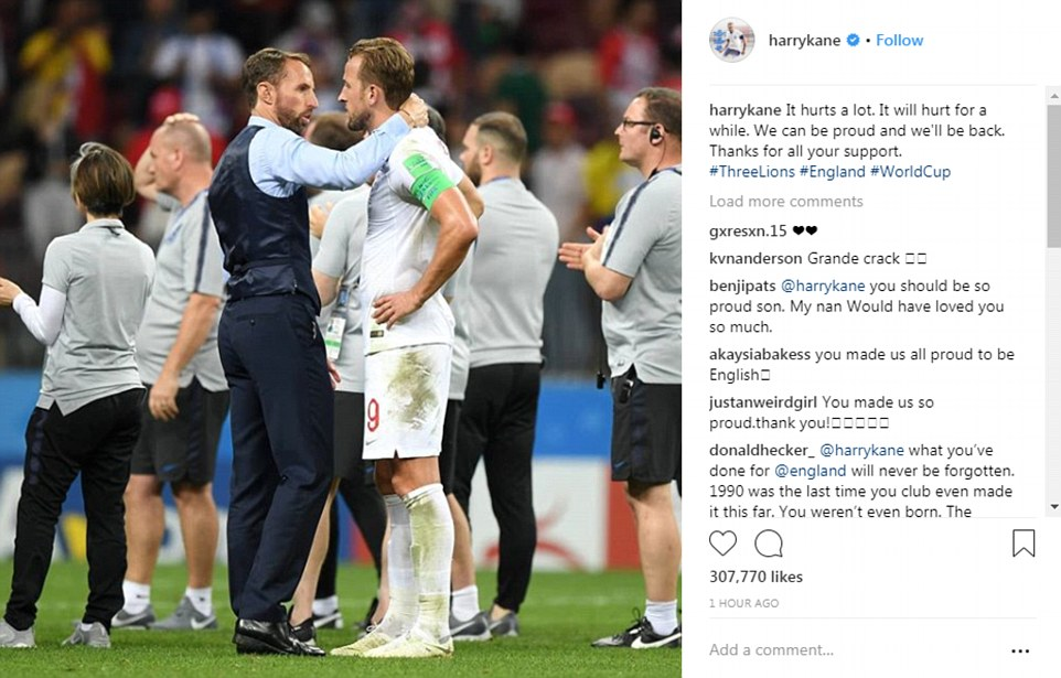 Harry Kane, pictured being hugged by Southgate, wrote on Instagram after the game the defeat 'hurt a lot' but thanked all the fans for their support