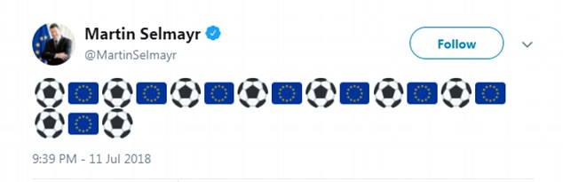 Fans interpreted the message as a dig at England because it seemingly referred to the fact that two EU countries – France and Croatia – had made it to the final
