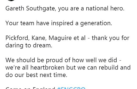 Some fans on Twitter labelled Southgate a national hero