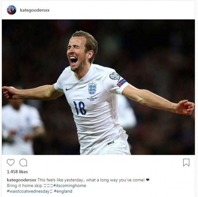 Kate Goodall posted this throwback photo of of her man Harry Kane scoring on his debut for England against Lithuania in 2015 with the words, 'What a long way you've come!'
